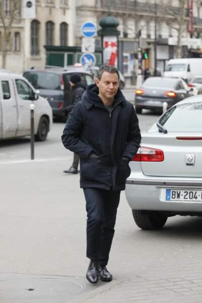 Marc-Olivier Fogiel, très triste aux obsèques de Henry Chapier à Paris le 4 février 2019