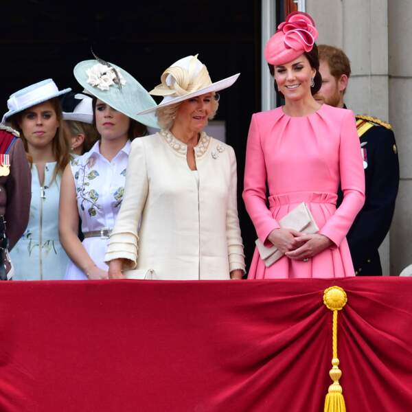 Eugenie et Beatrice d'York, Camilla Parker-Bowles et Kate Middleton lors de Trooping The Colour, en juin 2017