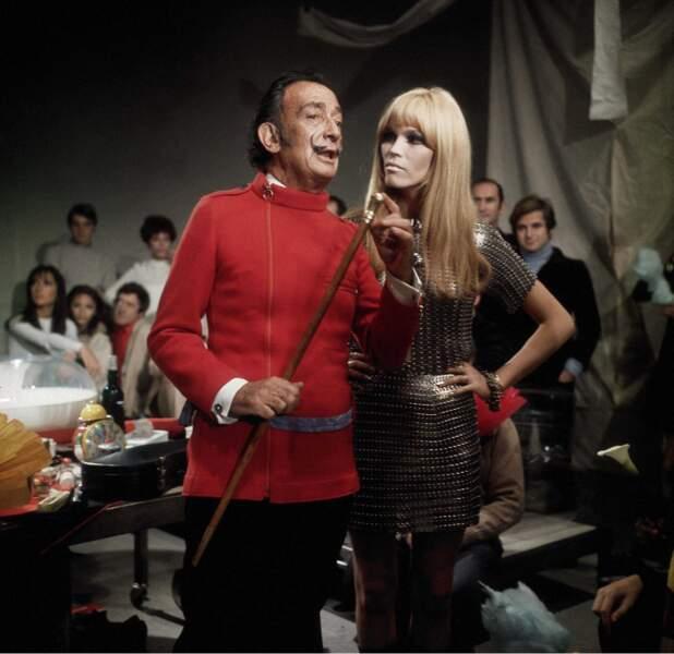 Avec Salvador Dali, qui l'a promue muse, en 1965.