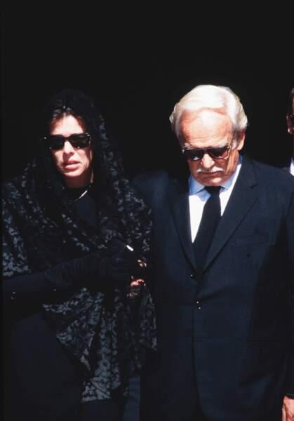 Caroline et Rainier de Monaco, lors des obsèques de Stefano Casiraghi, en 1990