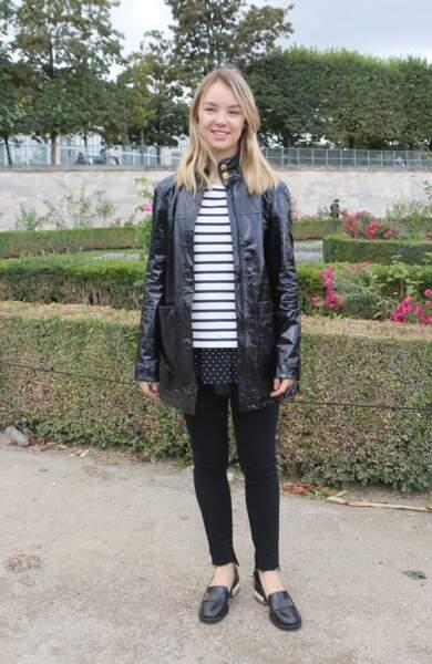 """La princesse Alexandra de Hanovre arrivant au défilé de mode """"Elie Saab"""" le 1er octobre 2016"""