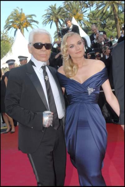 Diane Kruger et Karl Lagerfeld au festival de Cannes, en 2007