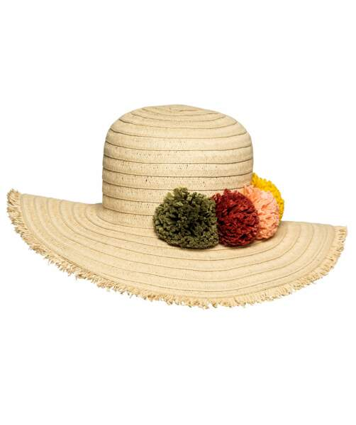 Chapeau en paille avec fleurs en coton, 17,99 €, Gemo.