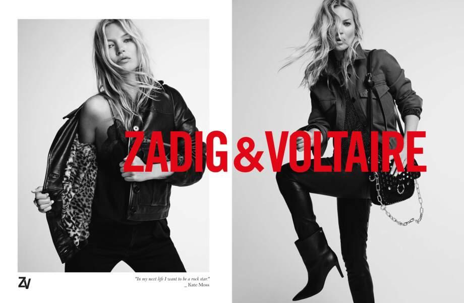 Kate Moss réaffirme son côté rock avec Zadig & Voltaire pour cette nouvelle saison.