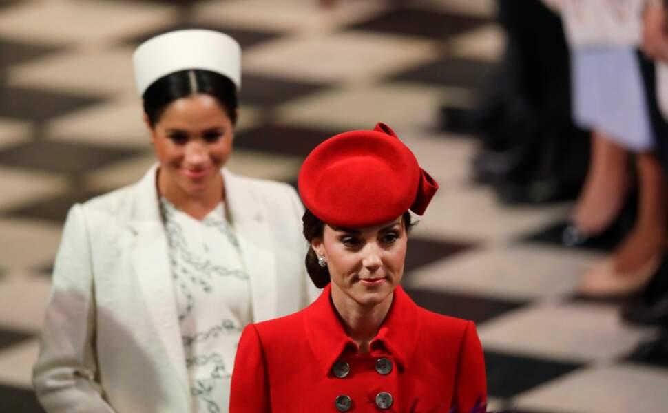 Meghan et Kate à l'Abbaye de Westminster pour une sortie officielle, à Londres, le 11 mars 2019.