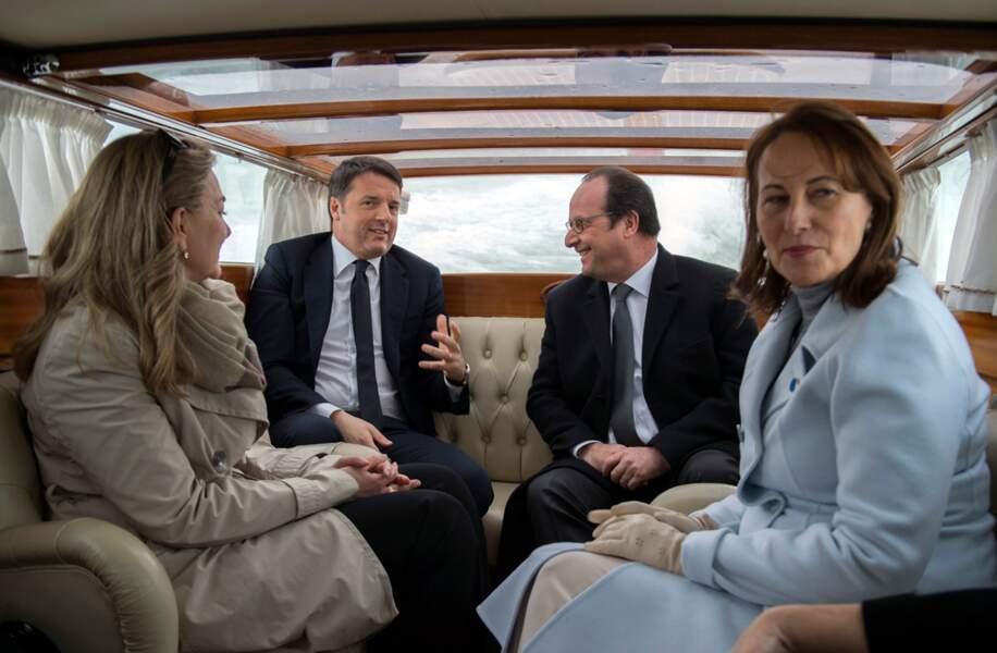François Hollande et Ségolène Royal avec Matteo Renzi lors du sommet franco-italien à Venise le 8 mars 2016