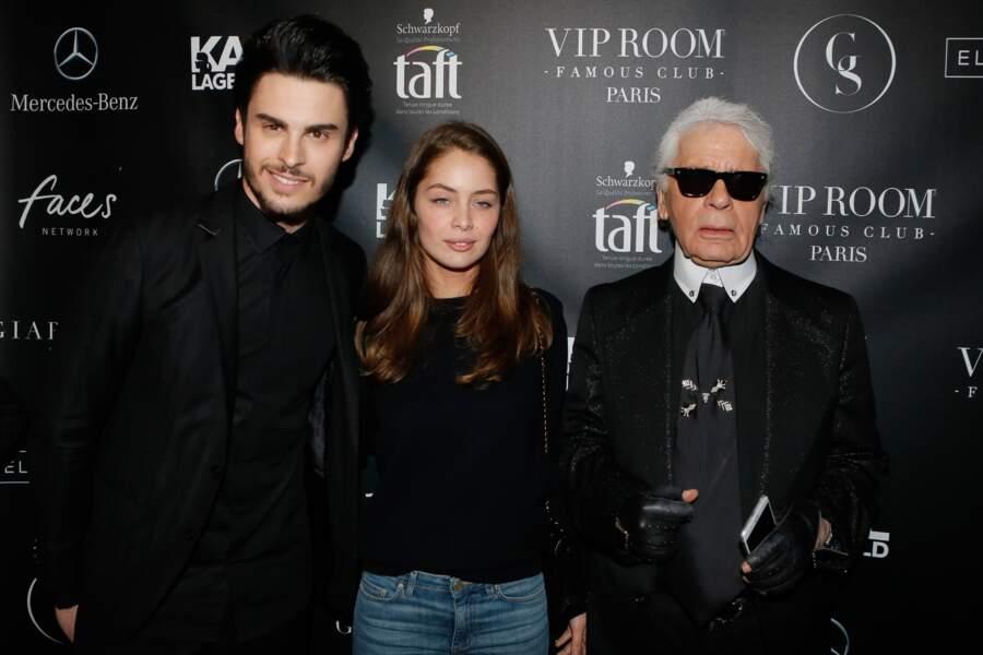 """Baptiste Giabiconi, Marie-Ange Cast et Karl Lagerfeld à la soirée """"Giabiconistyle.com opening"""" au Vip Room, en 2015"""