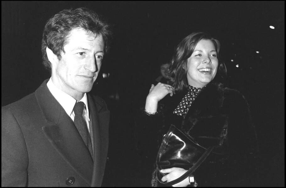 Caroline de Monaco et son premier mari Philippe Junot, au sortir du Regine's, en février 1977