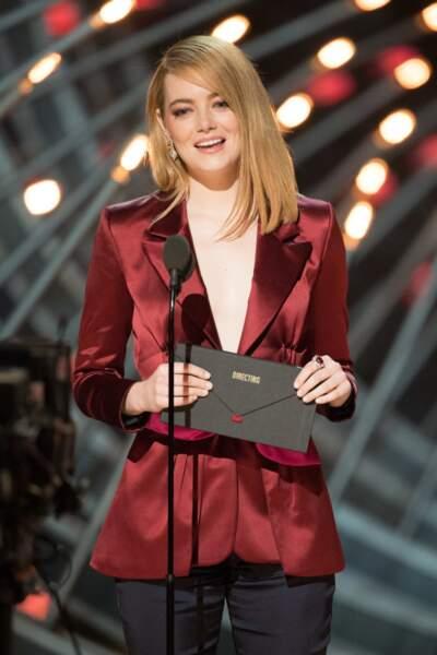 Les longueurs lisses d'Emma Stone.