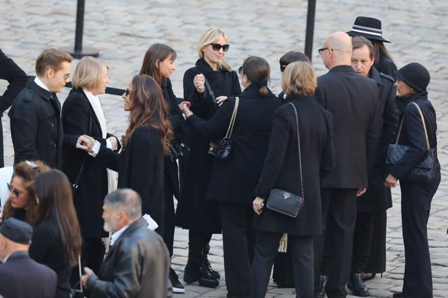 Ulla Aznavour et ses enfants, Nicolas, Katia et Mischa lors l'hommage national à Charles Aznavour