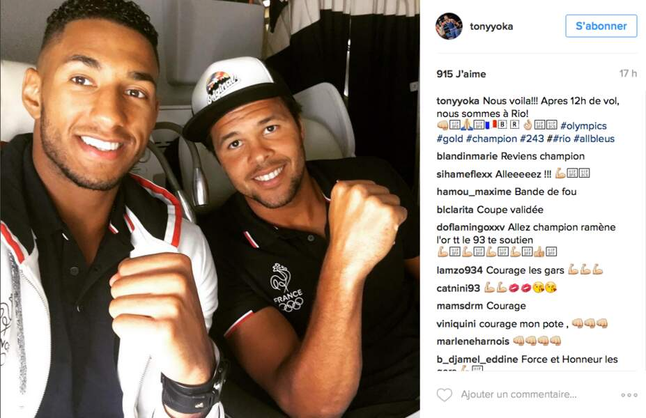 Tony Yoka et Jo Willfried Tsonga dans l'avion