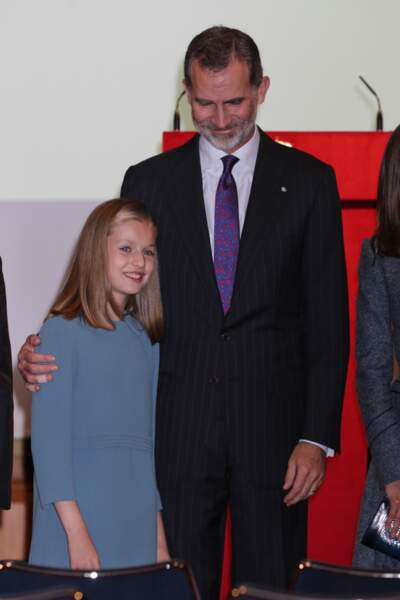 Leonor et son papa Felipe après son premier discours public le 31 octobre 2018