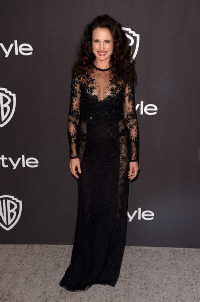 "Andie MacDowell (60 ans) lors de l'after party ""Warner InStyle"" à l'occasion des Golden Globes, en janvier 2019"