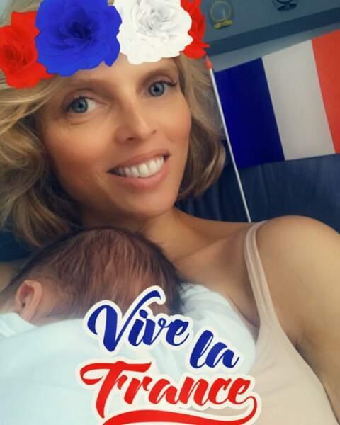 Sylvie Tellier, supportrice des bleus, devenue maman pour la troisième fois le 14 juillet 2018