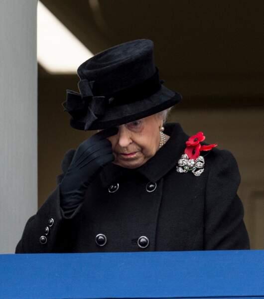 La reine Elizabeth lors de cérémonie du Remembrance Sunday à Londres, le 12 novembre 2017