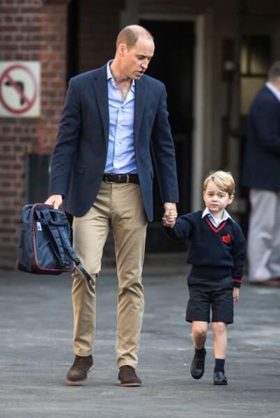 Le prince William emmène son fils le prince George pour son premier jour à l'école à Londres le 7 septembre 2017