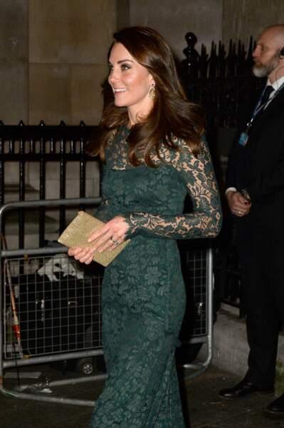 Kate Middleton à l'occasion d'un dîner de collecte de fonds à Londres