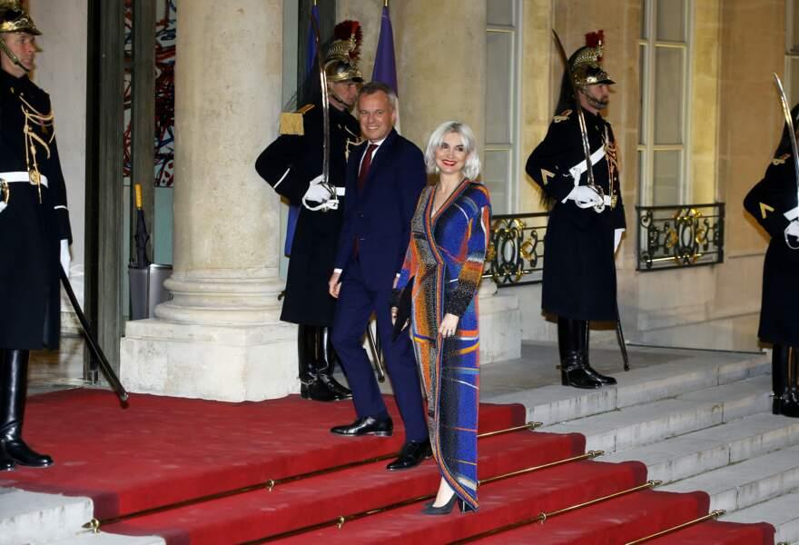 François de Rugy et son épouse Séverine Servat à leur arrivée sur le perron de l'Élysée ce lundi 25 mars