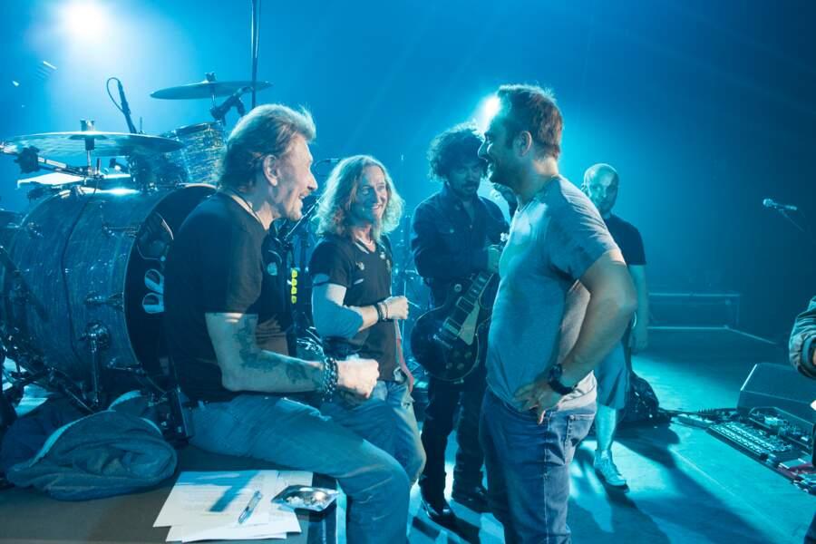 Geoff Dugmore, Yarol Poupaud et David Hallyday pendant les repetitions d'un concert à Bercy en 2013