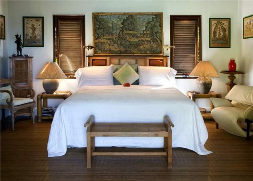 L'une des 5 luxueuses chambres de la villa de David Bowie à l'île Moustique