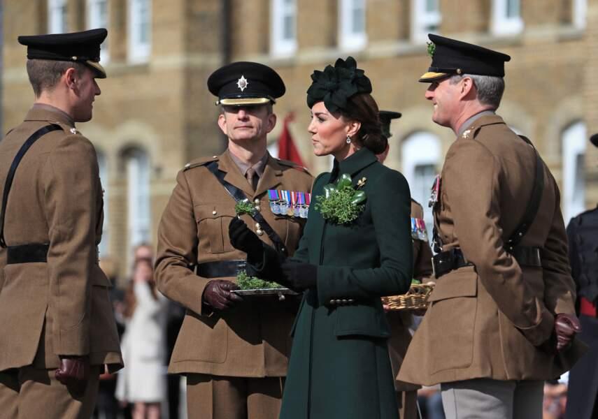 Kate Middleton radieuse, assiste à la parade des Irish Guards lors de la St Patrick le 17 mars 2019.