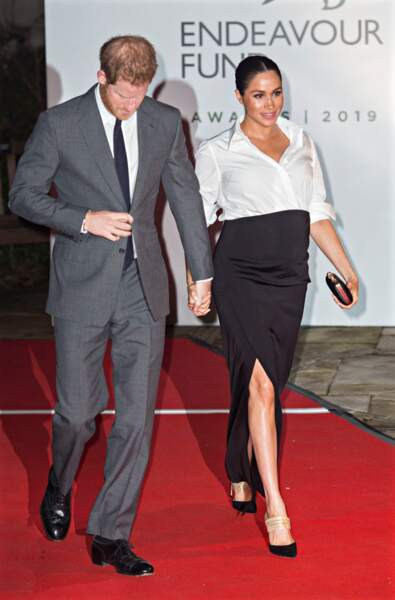 Le prince Harry et Meghan Markle avec un ventre bien rond le 7 février 2019.