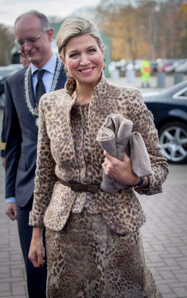 La reine Maxima des Pays-Bas lors d'un séminaire à Enschede, le 22 novembre 2016
