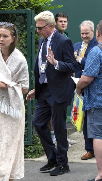 """Boris Becker arrive pour assister à la finale homme du tournoi de Wimbledon """"Novak Djokovic - Roger Federer."""