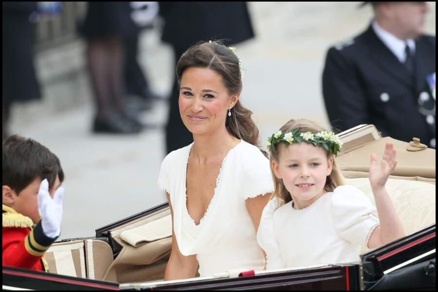 Pippa Middleton, lors de son arrivée à l'abbaye de Westminster pour le mariage de Kate et William, le 29 avril 2011