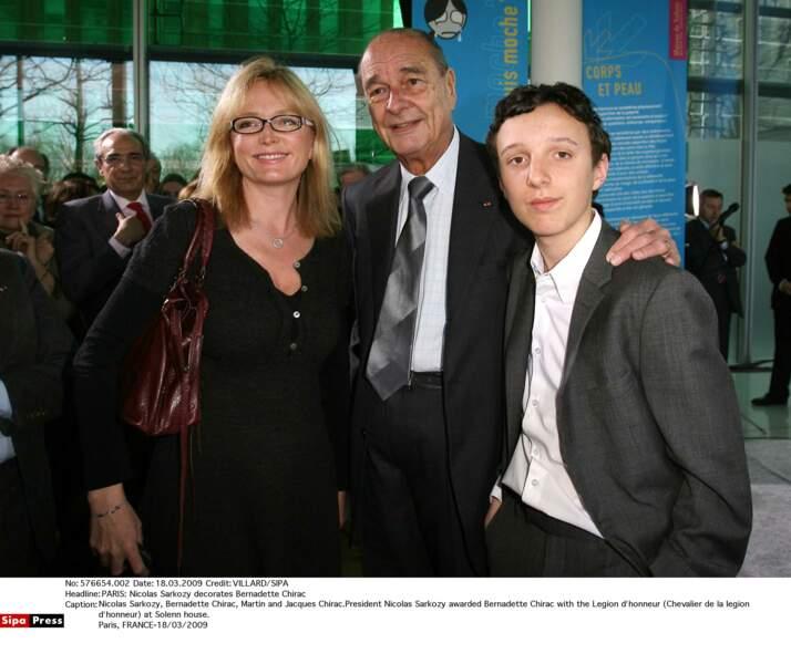 Claude, Jacques et Martin Chirac à Paris, en 2009