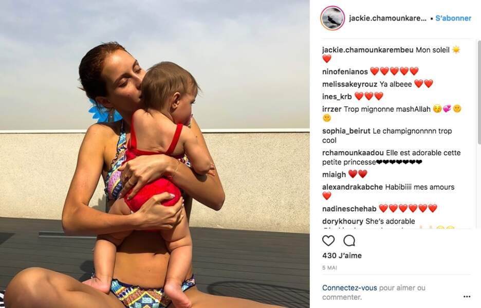 Jackie Chamoun Karembeu avec sa fille Gaïa, née de son union avec le footballeur Christian Karembeu
