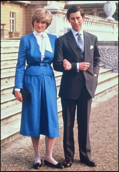 Lady Diana et le prince Charles lors de leurs fiancailles en 1981