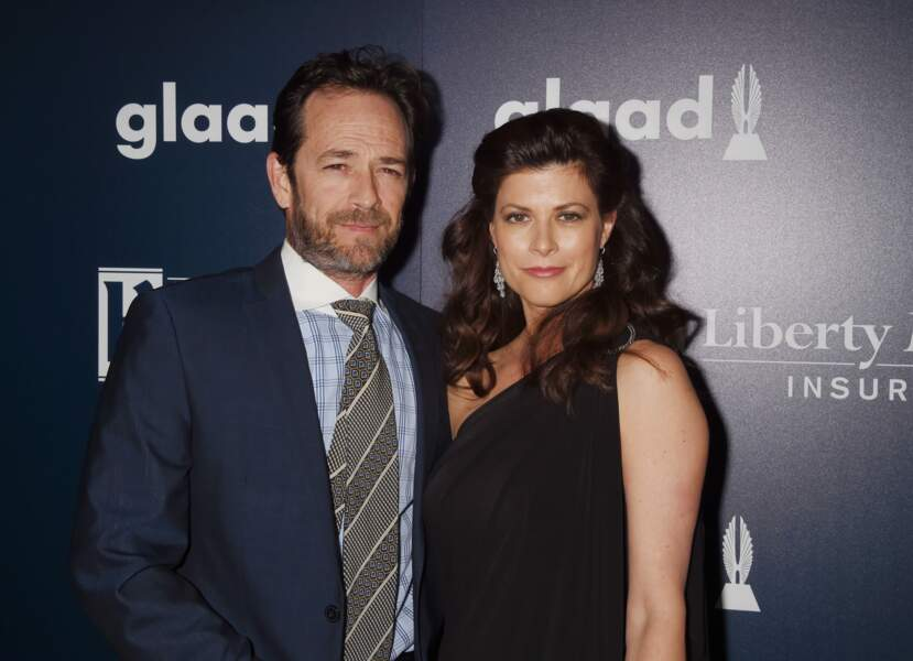 Luke Perry et sa compagne Wendy Bauer, aux GLAAD Media Awards à Los Angeles, le 2 avril 2017