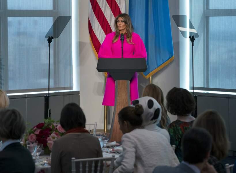 Melania Trump et sa robe rose fuchsia Delpozo, lors d'un discours à l'ONU le 20 septembre 2017