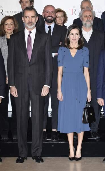 La reine Letizia d'Espagne a choisi une robe qui mettait en valeur sa silhouette