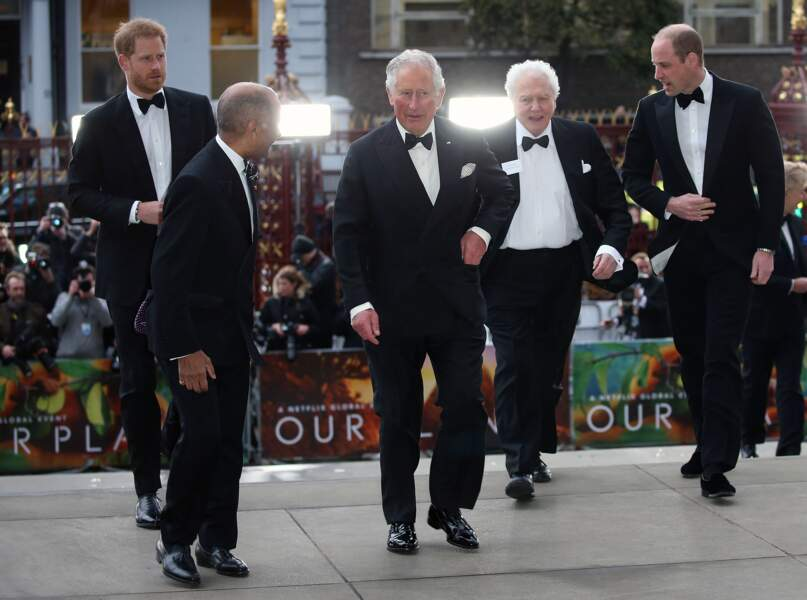 Le prince William, Sir David Attenborough, le prince Charles et le prince Harry, à Londres, le 4 avril 2019.