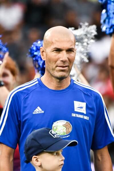 Zinédine Zidane lors d'une rencontre caritative pour l'association de Pascal Olmeta  à Toulouse le 10 juillet 2017