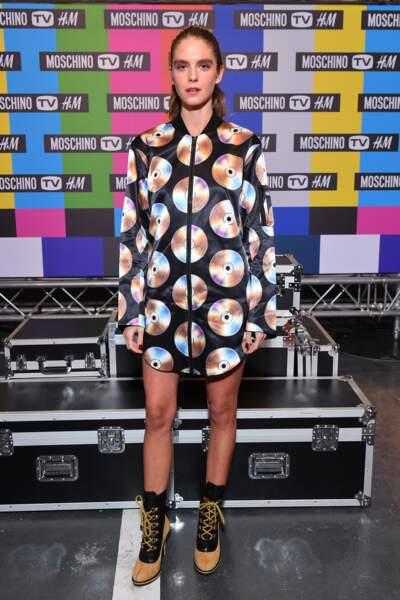 Dolores Doll lors de la soirée de lancement de la collection Moschino x H&M