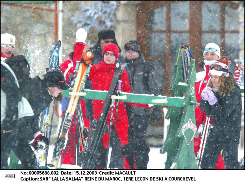 S.A.R Lalla Salma à sa 1ère leçon de ski à Courchevel le 15 décembre 2003