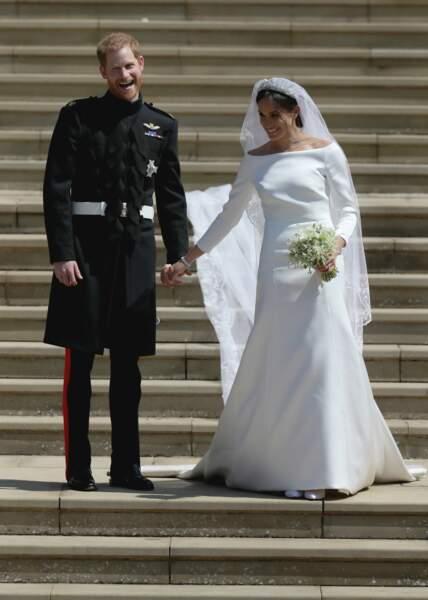Le prince Harry et Meghan Markle à la sortie de chapelle St. George