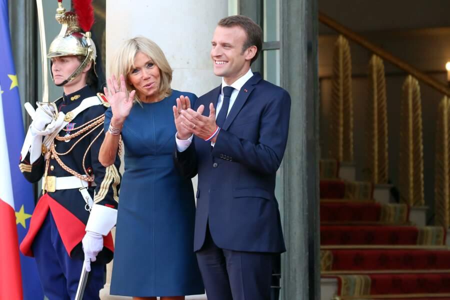 Emmanuel et Brigitte Macron ont accueilli l'Equipe de France lundi 16 juillet à l'Elysée.