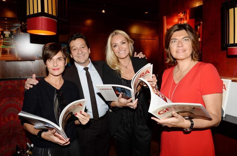 """Laurent Gerra, sa compagne Christelle Bardet et leurs amis pour le lancement du livre """"Carnets d'un sale gosse"""""""