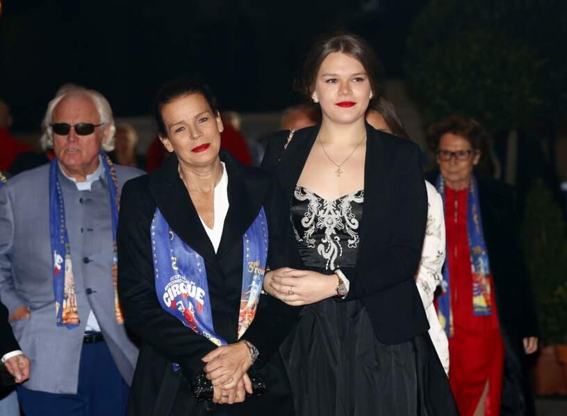 La princesse Stéphanie et sa fille Camille lors du Festival du Cirque de Monte-Carlo, le 16 janvier 2015