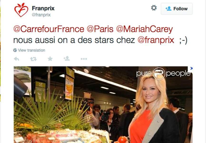 Son rival Franprix n'est pas en reste et poste une photo avec Adriana Karembeu