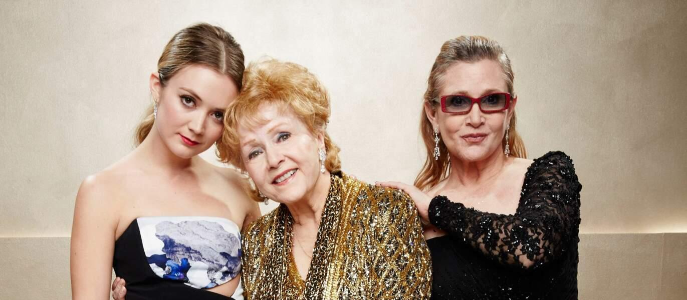 Billie Lourd, Debbie Reynolds et Carrie Fisher en 2015 à Los Angeles