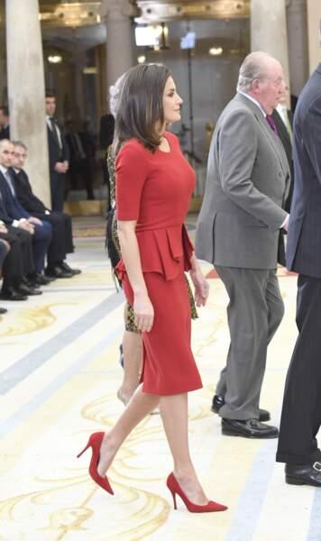 Juan Carlos et Letizia d'Espagne, lors des Sports National Awards, à Madrid, le 10 janvier 2019