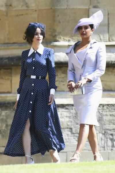 Abigail Spencer a opté pour une création Alessandra Rich lors du royal wedding à Londres, le 19 mai 2018