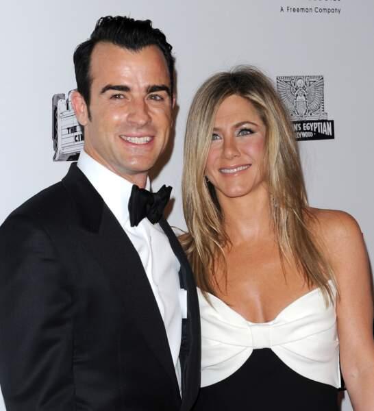 Jennifer Aniston et son mari Justin Theroux en 2012