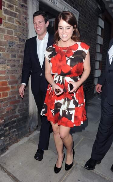 """La princesse Eugenie d'York et son futur mari Jack Brooksbank à la sortie de la """"Summer Frost Party"""" à Londres"""