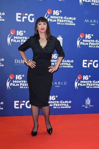 Mathilda May, ravissante et sexy, au Festival du Film de Monte Carlo, le 10 mars 2019.